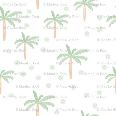 Summer palm tree beach coconut pastel bikini tropics illustration print in mint peach