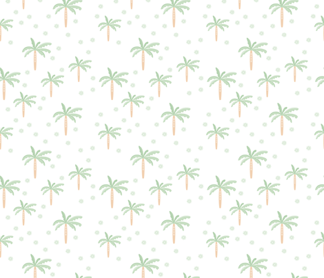 Summer palm tree beach coconut pastel bikini tropics illustration print in mint peach fabric by littlesmilemakers on Spoonflower - custom fabric