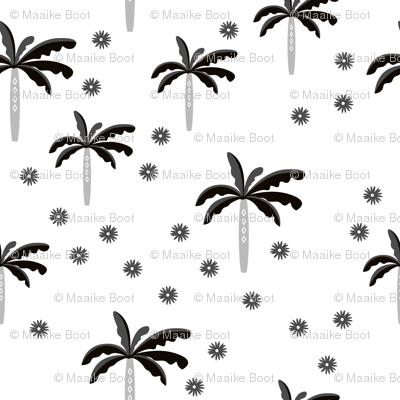 Summer palm tree beach coconut pastel bikini tropics illustration print in black and white