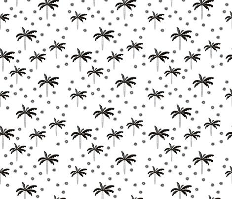 Summer palm tree beach coconut pastel bikini tropics illustration print in black and white fabric by littlesmilemakers on Spoonflower - custom fabric