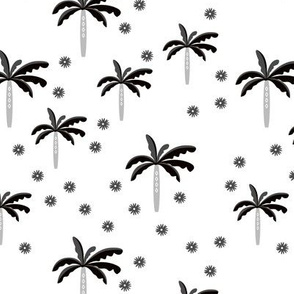 Summer palm tree beach coconut pastel bikini tropics illustration print in black and white