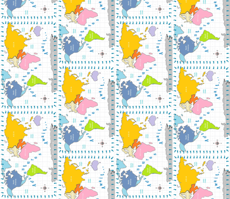 Map world Adventures 20 Vertical - Continent fabric by drapestudio on Spoonflower - custom fabric