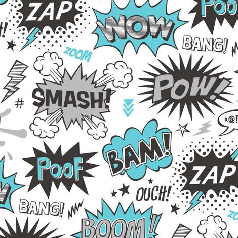 Superhero Comic Pop art Speech Bubbles Words Blue fabric by caja_design on Spoonflower - custom fabric