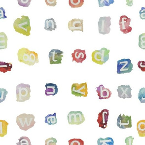 Watercolor lowercase letters