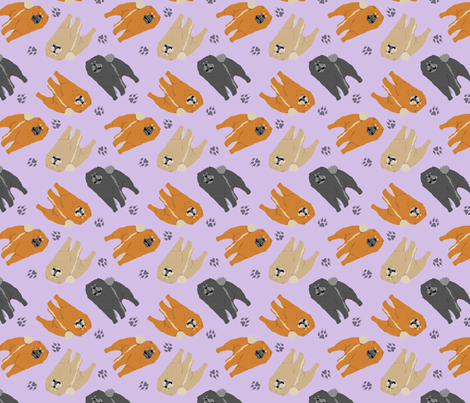 Tiny Chow Chows - purple fabric by rusticcorgi on Spoonflower - custom fabric