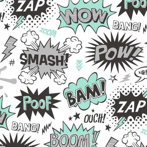 Superhero Comic Pop art Speech Bubbles Words Mint Green fabric by caja_design on Spoonflower - custom fabric