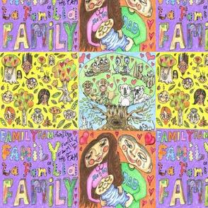 Family Tree Design, small scale, yellow purple orange blue colorful rainbow