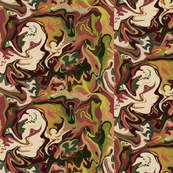 Bella Nina 2 -  Abstract Marbled Swirls  in which I see a beautiful young woman, small scale,chocolate  brown, olive green, forest green and beige, small scale