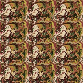 BN2 - Tiny  Abstract Marbled Swirls  of chocolate  brown, olive greens and beige SM