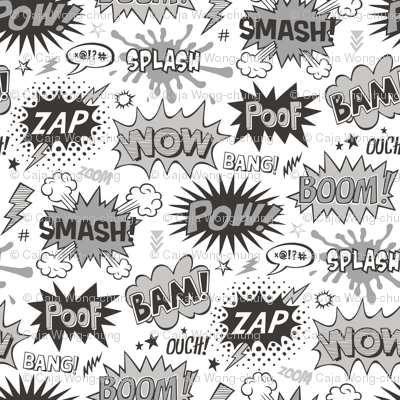 Superhero Comic Pop art Speech Bubbles Words Black & White Grey