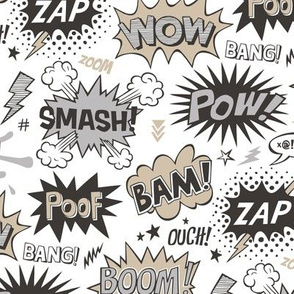 Superhero Comic Pop art Speech Bubbles Words Almond