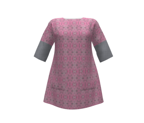 Dancing Dots and Spots of Grey on La La Pink - Small Scale Pink