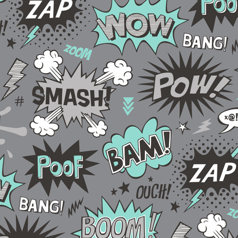 Superhero Comic Pop art Speech Bubbles Words Mint Green on Grey fabric by caja_design on Spoonflower - custom fabric