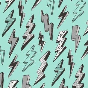 Bolt Lighting Comic Superhero on Mint Green