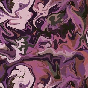BN4 -  Abstract Marbled Mystery  in Rustic Purple - Burgundy - Maroon - Medium Scale
