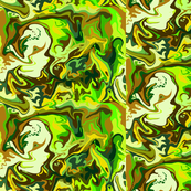 Bella Nina 5 -  Abstract Marbled Swirls  in which I see a beautiful young woman, chocolate  brown, forest green, lime green and mustard yellow