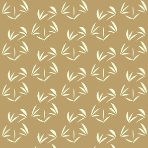 Magnolia Cream Oriental Tussocks on Taupe - Small Scale