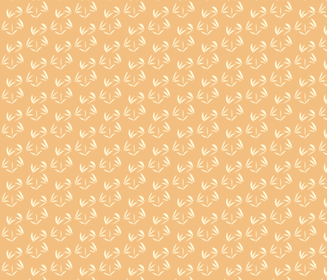 Magnolia Cream Oriental Tussocks on Dusky Apricot - Small Scale fabric by rhondadesigns on Spoonflower - custom fabric