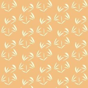 Magnolia Cream Oriental Tussocks on Dusky Apricot - Small Scale