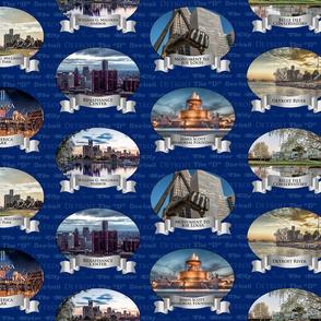 Detroit on Blue Background