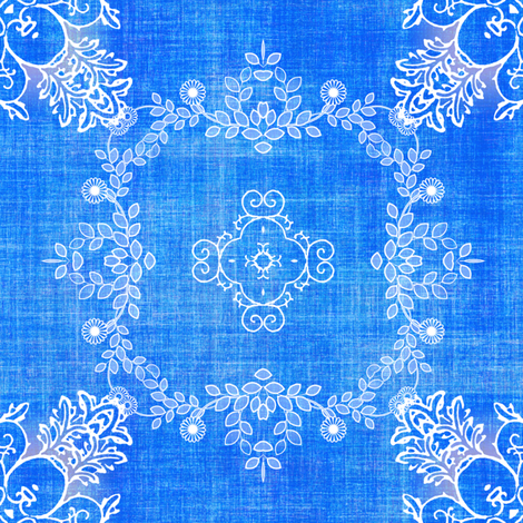 Blue linen and lace fabric by joanmclemore on Spoonflower - custom fabric