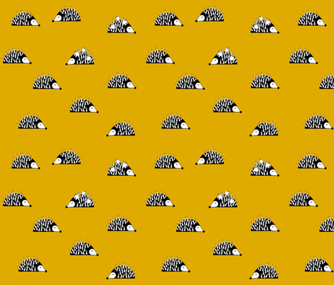 Hedgehogs - mustard  fabric by sunny_afternoon on Spoonflower - custom fabric