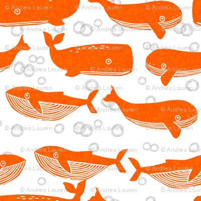 whales // orange kids baby whale ocean animals boys ocean print