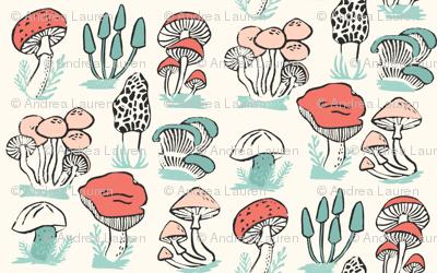 mushrooms // mushroom linocut block print woodland forest toadstools
