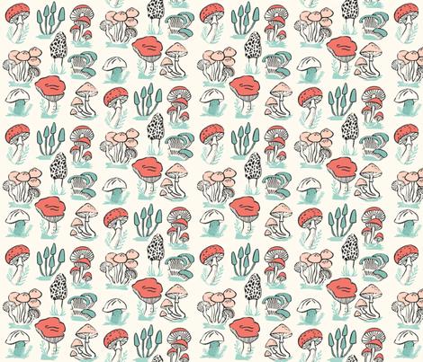 mushrooms // mushroom linocut block print woodland forest toadstools fabric by andrea_lauren on Spoonflower - custom fabric