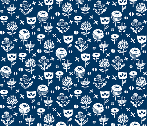 nature walk // flowers florals navy kids stamps linocut fabric by andrea_lauren on Spoonflower - custom fabric