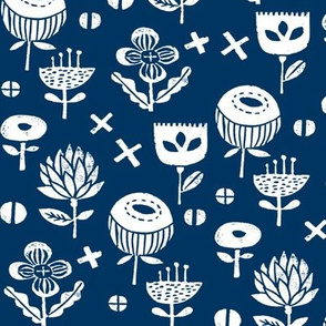 nature walk // flowers florals navy kids stamps linocut