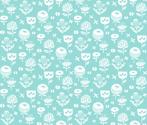 flower // flowers florals linocut stamps fabric by andrea_lauren on Spoonflower - custom fabric