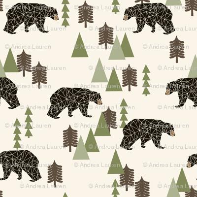 camping bear // avocado green cream vintage camping cute bear trees forest woodland