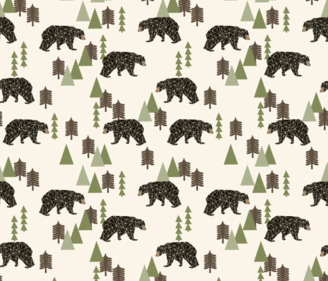 camping bear // avocado green cream vintage camping cute bear trees forest woodland fabric by andrea_lauren on Spoonflower - custom fabric