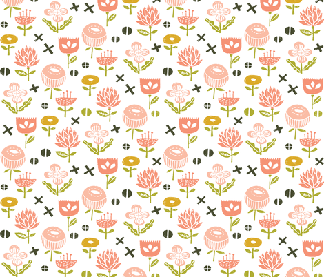 blush and peach flowers // blush girls pastel peach linocut stamps florals flowers fabric by andrea_lauren on Spoonflower - custom fabric