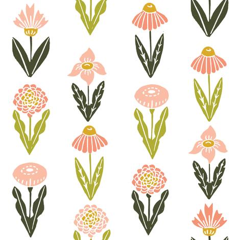 botanica // flowers florals flower blush peach pastel girls nursery baby sweet fabric by andrea_lauren on Spoonflower - custom fabric