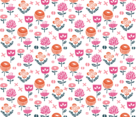 autumn flowers // florals floral autumn fall botanic girls fabric by andrea_lauren on Spoonflower - custom fabric