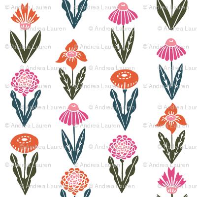 autumn flowers // autumn fall flowers floral stamp linocut botanicals