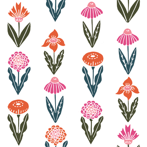 autumn flowers // autumn fall flowers floral stamp linocut botanicals fabric by andrea_lauren on Spoonflower - custom fabric