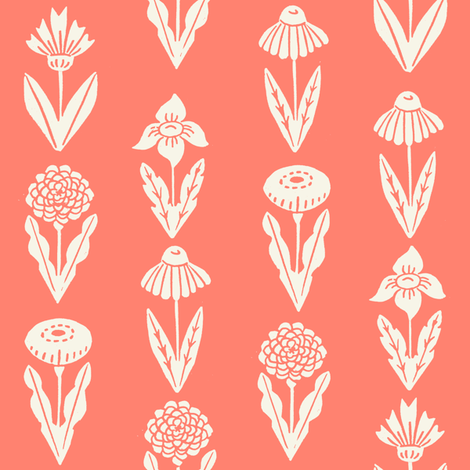 flowers // coral florals flowers girls linocut block print fabric by andrea_lauren on Spoonflower - custom fabric