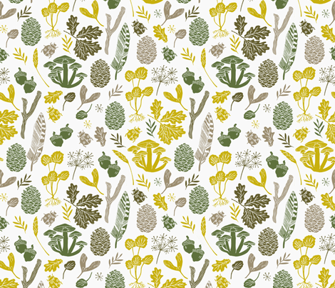 nature walk // fall green acorn oak leaves leaf botanical kids baby outdoors forest woodland fabric by andrea_lauren on Spoonflower - custom fabric