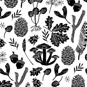 black and white nature // botanicals botanic fall kids baby black and white