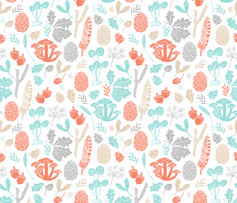 nature // fall autumn soft aqua orange grey kids baby sweet leaves outdoors fall woodland fabric by andrea_lauren on Spoonflower - custom fabric