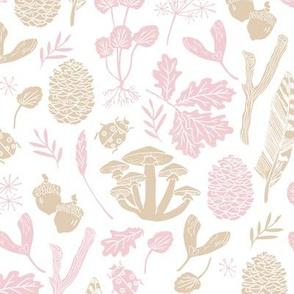 nature // pastel kids baby pink khaki soft white girls baby nursery