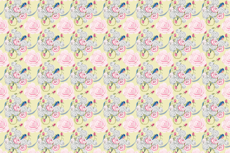 Bluebirds and Roses on pale yellow fabric by karenharveycox on Spoonflower - custom fabric