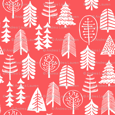 christmas trees // red christmas trees forest woodland tree linocut stamps block prints