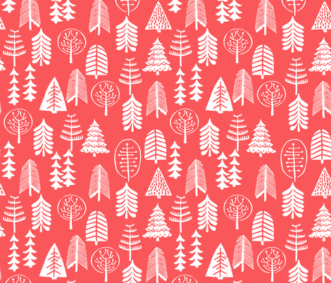 christmas trees // red christmas trees forest woodland tree linocut stamps block prints fabric by andrea_lauren on Spoonflower - custom fabric