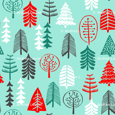 christmas tree // christmas trees forest woodland green and red block print linocut hand made hand-drawn christmas holiday