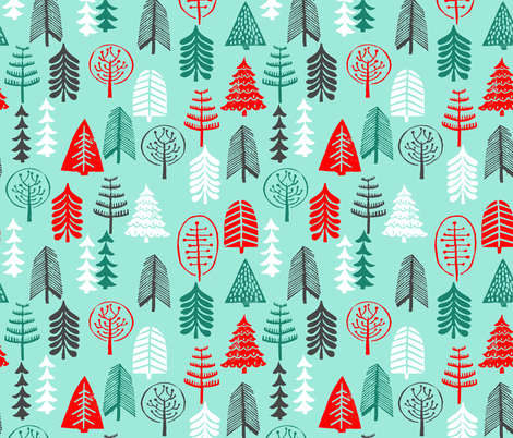 christmas tree // christmas trees forest woodland green and red block print linocut hand made hand-drawn christmas holiday fabric by andrea_lauren on Spoonflower - custom fabric