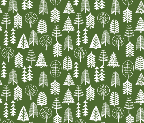 christmas tree // green christmas xmas holiday forest woodland fabric by andrea_lauren on Spoonflower - custom fabric